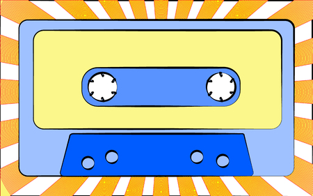 Old retro vintage antique hipster music audio cassette for a tape recorder against a background of yellow rays. Vector illustration
