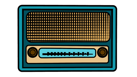 An old blue retro vintage antique hipster obsolete music radio on a white background. Vector illustration Ilustração