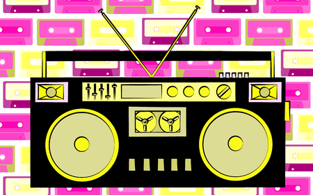 Old retro vintage radio with seamless pink and yellow cassette tape background