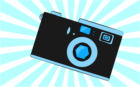 Old blue retro vintage antique hipster obsolete camera with a lens and a diaphragm against a blue triangle ray. Vector illustration. Çizim