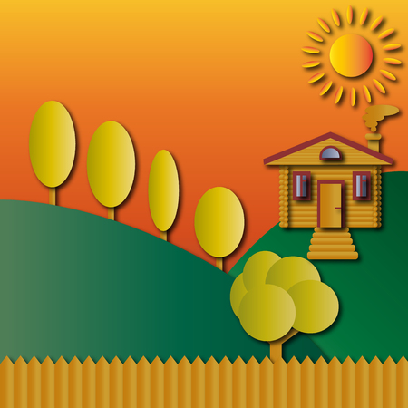 Landscape, log house, trees and fence, hills and sun in orange tones Vector illustration
