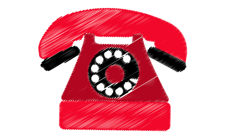 Red retro antique phone painted in strokes on a white background Vector illustration Illustration
