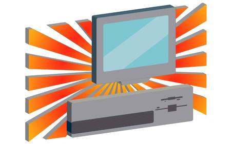 A retro personal computer against the background of orange rays Vector illustration. Ilustração