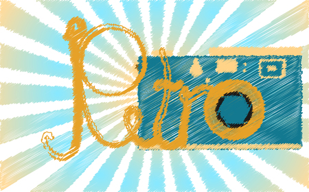 A blue retro, hipster, antique, old, antique camera painted in a stroked style and a retro word against the blue rays Vector illustration.