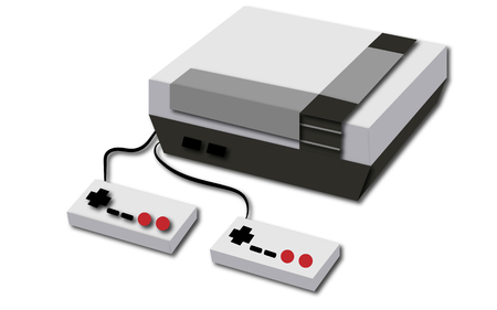 White retro, hipster, antique, old, antique, game console with two joysticks on a white background Vector illustration. Illustration
