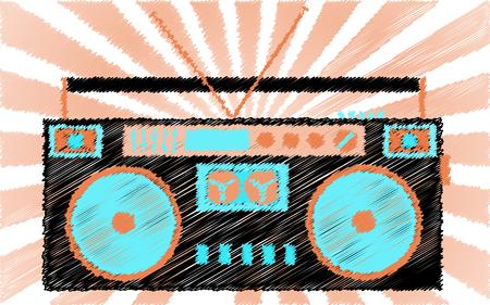 Retro old boombox image illustration