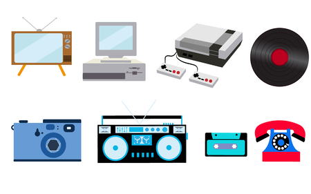 Set of old retro vintage hipster technology, electronics: computer, audio recorder, game console, audio cassette, disk telephone, vinyl record, camera, TV set on a white background vector illustration. 일러스트