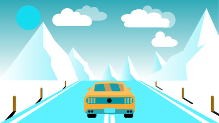 A fast racing sports yellow car rides a trip to the mountains along the road against a background of blue mountains, sun and clouds. Concept of tourism in the mountains vector illustration.