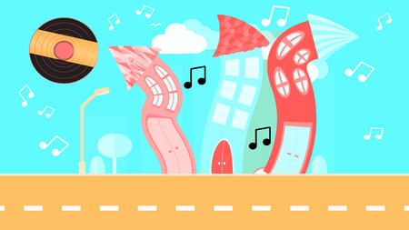 Abstract dancing city in a flat style with a vinyl plate instead of the sun with curved houses with notes with trees and bushes, clouds on a blue background. Vector illustration Illustration