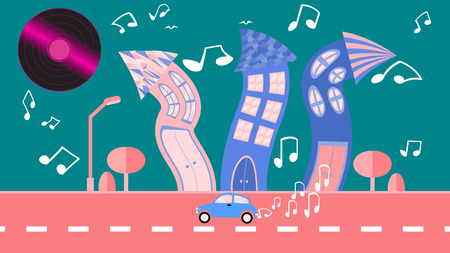 Abstract dancing city in a flat style with a vinyl plate instead of the sun with curved houses with notes with trees with a road and a car and bushes, clouds on a blue background. Vector illustration Illustration