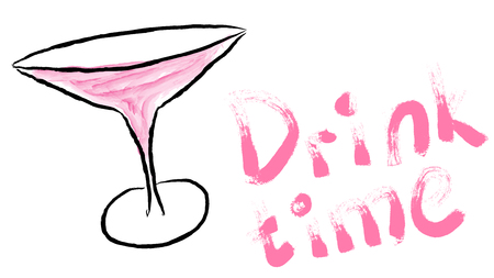 Black wide cocktail glass, margarita on leg with pink watercolor cocktail hand-drawn and beautiful writing time drink painted with pink paint on white background. Vector illustration. Illustration