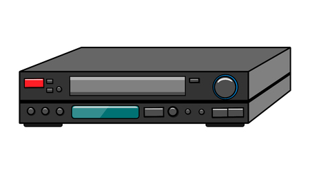 Black old vintage retro hipster antique video recorder for videocassettes for watching movies, video on white background. Vector illustration. Illustration