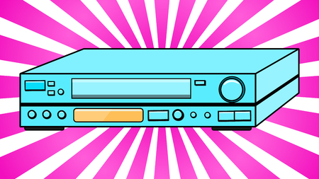 Blue Old Vintage Volumetric Retro Hipster Antique VCR for videocassettes for watching movies, against the background of purple rays. Vector illustration. Vectores