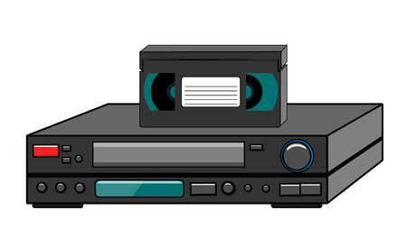 Black old vintage retro vintage hipster vintage video recorder with video cassette standing on a VCR for watching movies on a white background. Vector illustration.