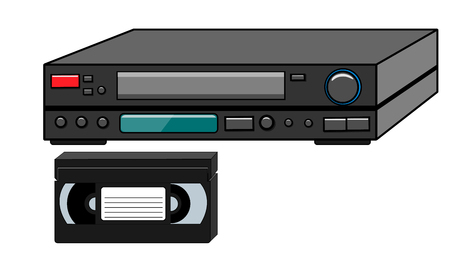 Black old vintage volumetric retro hipster antique video recorder and video cassette for watching movies, video from the 80's, 90's on a white background. Vector illustration.