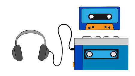 Blue old retro vintage hipster portable music cassette audio player for audio cassettes and headphones on a white background. Vector illustration