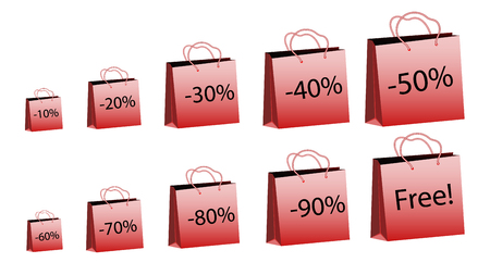 A set of ten red increasing sizes of paper bags for purchases with rope handles and discounts of 10, 20, 30, 40, 50, 60, 70, 80, 90% and for free on a white background. Vector illustration 일러스트