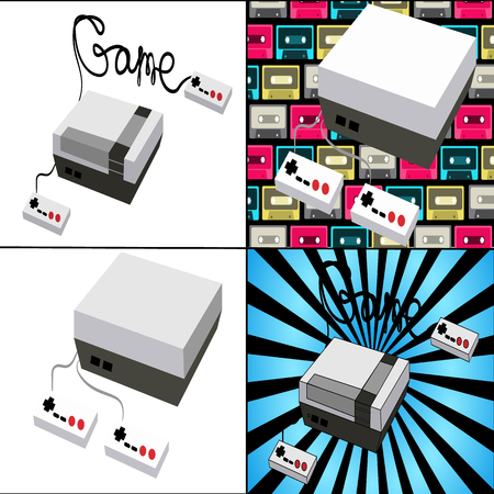 A set of old antique retro vintage hipster game consoles for video games from the 80s, 90s on different backgrounds. Vector illustration.