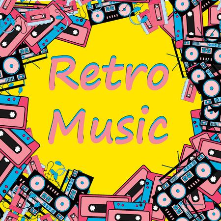 Ein Retro-Musikrahmen aus einem alten Hipster-Retro-Technik-Musik-Audioplayer mit Kopfhörern, einem Tonbandgerät und einer Audiokassette und einem Kopierraum aus den 80er Jahren. Der Hintergrund. Vektorgrafik