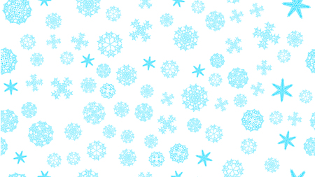 Bright motley pattern texture of a frame of blue snowy winter festive Christmas miscellaneous different abstract carved snowflakes on a white background. Vector illustration. Ilustração