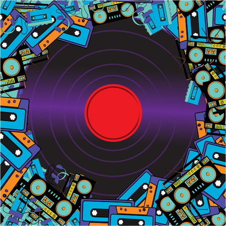 Texture frames from retro musicians old antiquarian hipster electronics appliances audio tape recorders audio cassettes and vinyl records from the 60s 70s 80s 90s. Vector illustration.
