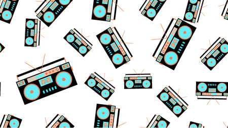 The texture is a seamless pattern from the retro music of the old antique hip with speakers of an audio tape recorder for audiocassettes from the 60s 70s 80s 90s. Vector illustration. Çizim