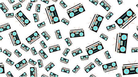 The texture is a seamless pattern from the retro music of the old antique hip with speakers of an audio tape recorder for audiocassettes from the 60s 70s 80s 90s. Vector illustration. Ilustrace