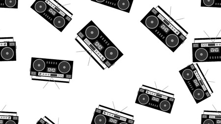 Texture pattern black and white seamless old retro antique vintage hipster musical audio recorder for film audio cassettes from the 80s, 90s. The background. Anecdotal illustration.
