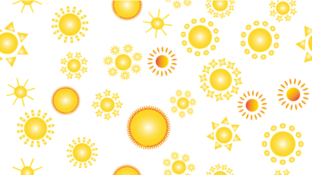 The texture of the pattern is seamless from a multitude of warm bright cheerful variegated beautiful hot suns of round with rays of different shapes. Vector illustration.
