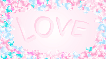 Texture frame with the inscription love from the letters of cheerful beautiful loving tender multicolored bright hearted festive favorite unique hearts. Back background Vector illustration. Иллюстрация