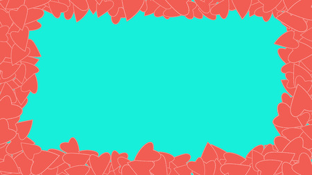 Texture red frame pattern of cheerful kind light pink bright bright beautiful variegated festive love hearts on a blue background and copy mesa. The background. Vector illustration. Illustration