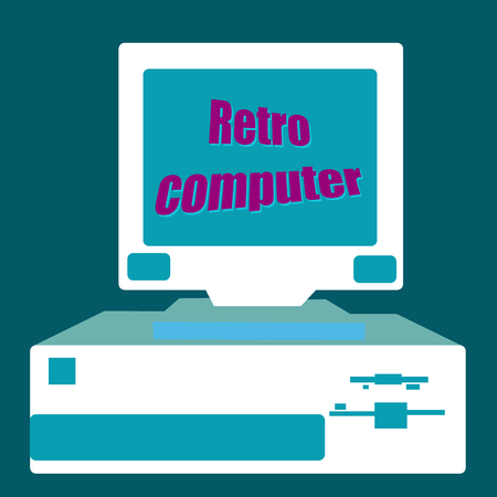 Old retro antique hipster vintage with a wavy screen monitor, an ancient computer for games with a floppy with an inscription of retro TV in the 80's, 90's, 2000's. Vector illustration.