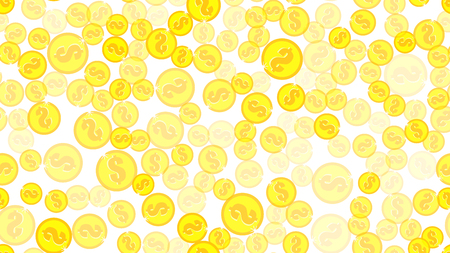 Texture seamless pattern with beautiful festive bright colored magical shiny luminous expensive luxury dollar coins with gold money. Vector illustration. The background. Illustration