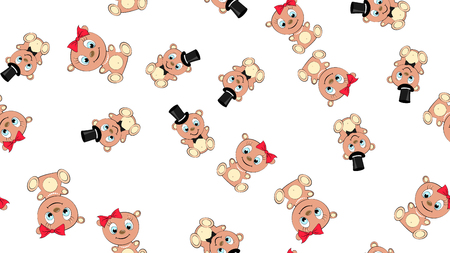 Texture seamless pattern with beautiful cheerful festive bright colorful colored bears fairy children's ladies and gentlemen boy and girl bear cubs joyful. Vector illustration. The background.