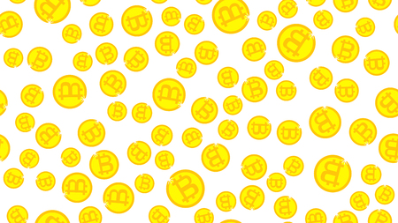 The texture is a seamless pattern with beautiful festive bright colored magical shiny luminous expensive luxury coins of bitcoins with gold crypts. Vector illustration. The background. Illustration