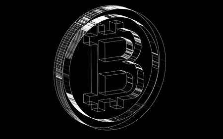 Black-and-white transparent hatched lines of coin bitcoin icon of hired crypto currency. Vector illustration.