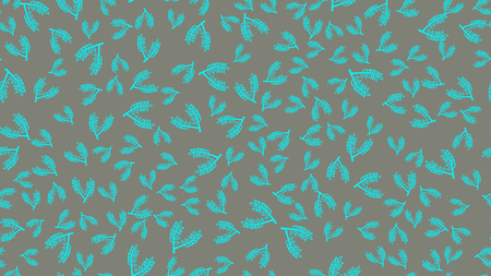 Texture seamless pattern of blue plant branches with leaves and stems of natural beautiful malt used in brewing to make beer on a gray background. Vector illustration. Ilustrace