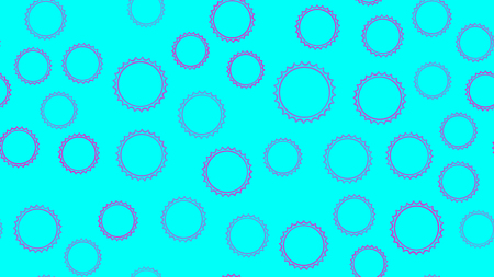 Texture seamless pattern from set of multi-colored simple round abstract carved bubbles circles geometric shapes of balls with sharp edges on a blue background. Vector illustration.