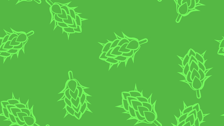 Texture seamless pattern of many colored natural flowers of hop plants for beer hops for brewing. Vector illustration.