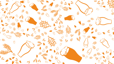 Texture seamless pattern of multi-colored glasses of mugs with foam beer light dark lager and stout with branches of hop and malt plants. The background. Vector illustration.
