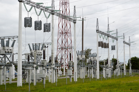 Metal transmission line with the components of the electric network, the system of power equipment for the transmission of electricity, electric current with the transformer at the power station