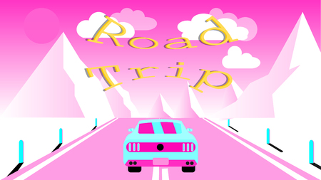 A sports car rides along an asphalt road into snowy mountains. Journey to the mountains by car, travel and inscription road trip. Vector illustration.