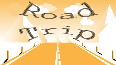 An asphalt road with a dividing strip for travel to the high rocky mountains. Journey to the mountains by car, travel and inscription road trip. Vector illustration. Illustration