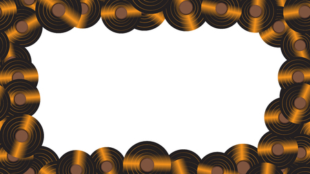 A frame from the music audio of an old vintage retro hipster antique vinyl record on the background of the 60's, 70's, 80's, 90's. The background. Vector illustration.