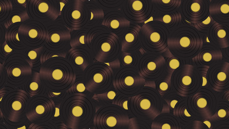 Seamless pattern from music audio of an old vintage retro hipster antique vinyl record on a background of 60s, 70s, 80s, 90s. The background. Vector illustration.