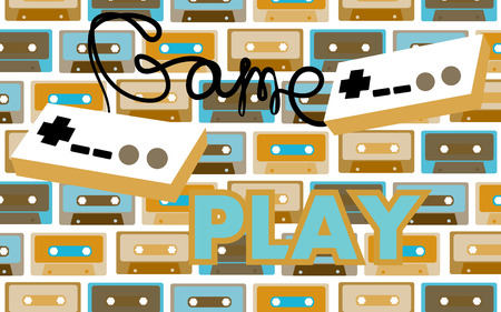 Old vintage retro hipster antique game controller for computer games and an inscription gameplay from the 70's, 80's, 90's on a background of audio cassettes. Vector illustration.