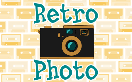 Old vintage retro hipster antique camera and an inscription retro photo from the 70s, 80s, 90s against the background of the suns rays. Vector illustration.