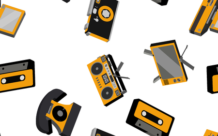 Texture seamless pattern from old vintage retro hipster stylish electronics appliances to home appliances 70s, 80s, 90s. The background. Vector illustration. Disco poster.