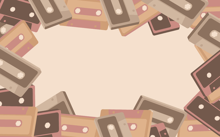 Frame from old vintage retro hipster antique stylish musical isometry voluminous audio cassette from the 70's, 80's, 90's. The background. Vector illustration. Disco poster. Ilustração