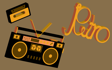 Old vintage retro hippies is a stylish isometric music audio recorder for listening to audio cassettes from the 70's, 80's, 90's. The background. Vector illustration.
